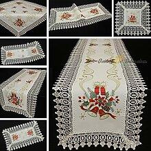Edle Spitzen Tischdecke Mitteldecke Tischläufer Weiß Rot Gold Weihnachten Stickerei - Größe wählbar (ca. 85 x 85 cm Quadratisch)