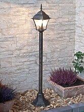 Edle Standleuchte Stehlampe in antik-gold Hoflampe Außenleuchte Gartenleuchte 8395 IP43