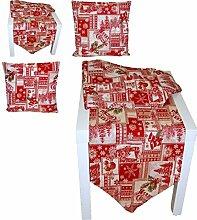 edle Tischdecke 45x320 cm mit Spitzen GOBELIN Weihnachten Merry Christmas dunkelrot Tischläufer Weihnachtsdecke (Tischläufer 45x320 cm)