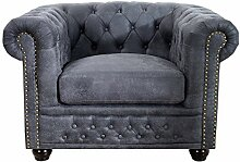 Edler Chesterfield Sessel Antik Grau mit