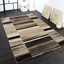 Edler Designer Teppich Gestreift und Meliert in Braun Beige Schwarztönen, Grösse:80x150 cm