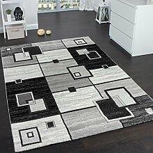 Edler Designer Teppich Kariert Kurzflor in Grau Creme Schwarz Meliert, Grösse:120x170 cm
