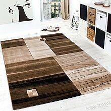 Edler Designer Teppich Kariert mit Konturenschnitt in Braun Beige Creme Meliert, Grösse:160x230 cm