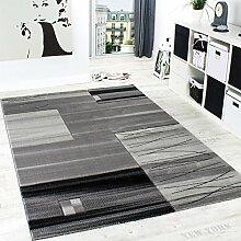 Edler Designer Teppich Kariert mit Konturenschnitt in Grau Schwarz Creme Meliert, Grösse:200x290 cm