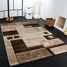 Edler Designer Teppich Konturenschnitt Kariert in Braun Beige Meliert, Grösse:80x150 cm