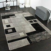 Edler Designer Teppich Konturenschnitt Kariert in Grau Schwarz Meliert, Grösse:120x170 cm