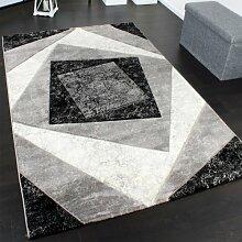 Edler Designer Teppich mit Konturenschnitt Kariert in Grau Schwarz Creme Meliert, Grösse:80x150 cm