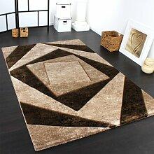 Edler Designer Teppich mit Konturenschnitt Karo in Braun Beige Schwarz Meliert, Grösse:200x290 cm