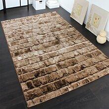 Edler Designer Teppich mit Steinwand Optik in Braun Beige Meliert, Grösse:160x230 cm