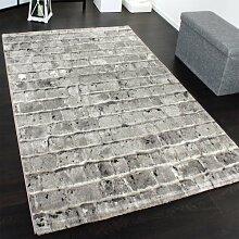 Edler Designer Teppich mit Steinwand Optik in Grau Schwarz Meliert, Grösse:120x170 cm