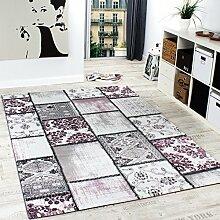 Edler Designer Teppich Patchwork Vintage Look Teppich Meliert in Lila Creme, Grösse:160x230 cm