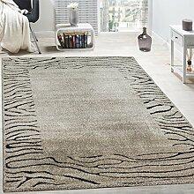 Edler Designer Teppich Safari Stil Kurzflor Konturenschnitt In Beige Schwarz, Grösse:160x230 cm