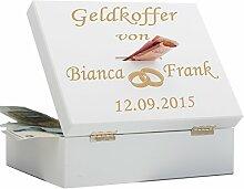Edler Geldkoffer zur Hochzeit - mit Ringmotiv, Namen des Brautpaares und Hochzeitsdatum graviert - kreatives Geldgeschenk für Hochzeiten (weiß)