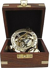 Edler Sundial Kompass, Sonnenuhr- Kompass in Edelholzbox, Messing polier