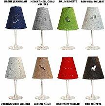 Edler Teelichtschirm | Lampenschirm aus 100% Wollfilz | Motiv: Heimat | Farbe: limette/grün | Erhältlich in 7 süßen Motiven und trendigen Farben