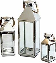 Edles 3tlg. Laternen-Set H55,5/40/25cm Edelstahl mit Griff aus geflochtenem Seil und Glasfenstern Laterne Windlicht Gartenlaterne Kerzenhalter Gartenbeleuchtung Dekoration
