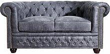 Edles Chesterfield 2er Sofa Antik grau Knopfheftung Chesterfield Design Couch