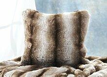 Edles Fellkissen Wolf grau-braun, Premium Webpelzkissen in 45x45cm