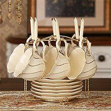 Edles Gold Inlay Elfenbein Porzellan-Kaffeetasse