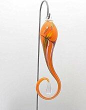 Edles Hänge-Objekt aus Glas mit Stab in orange Gartenstecker handgefertigte Gartenstehle