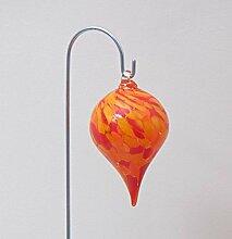 Edles Hänge-Objekt aus Glas red mit Stab Gartenstecker handgefertigt Glaskugel
