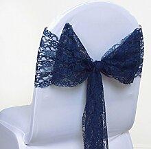 eds 50Stück Spitze Stuhl Schärpen Schleife für Hochzeit und Events Party Bankett Decor Stuhlhussen, marineblau