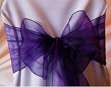 EDS Organza-Stuhl-Schleife, Stuhl-Band, Schärpe, für Hochzeiten, als Dekoration, mehr als 30Farben, 25 Stück cadbury purple
