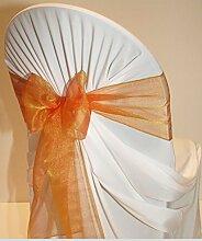 EDS Organza-Stuhl-Schleife, Stuhl-Band, Schärpe, für Hochzeiten, als Dekoration, mehr als 30Farben, 25 Stück brunt orange