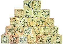 EDUPLAY 220103 - Holz-Stempelset Adventskalender,