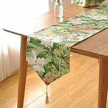 Eeayyygch Tischläufer, Baumwolle, Grün, 30 x 200