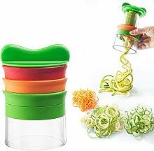 EETCK Spiralschneider Hand Multifunktionales Reibe Spiral spiralförmigen 3 Schaufeln für Kartoffeln / Gurke / Zucchini / Radieschen