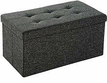 EFACONCEPT Faltbare Sitzbank XL 38 x 76 x 38 cm HxTxB stabiler Sitzcube mit praktischer Fußablage als Sitzwürfel aus Leinen als Aufbewahrungsbox mit Stauraum und Deckel zum Abnehmen für Wohnraum, grau (Dunkelgrau)