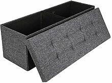 EFACONCEPT Faltbare Sitzbank XL HBT 38 x 114 x 38 cm stabiler Sitzcube mit praktischer Fußablage als Sitzwürfel aus Leinen als Aufbewahrungsbox mit Stauraum und Deckel zum Abnehmen für Wohnraum, grau (dunkelgrau)