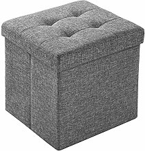 EFACONCEPT Sitzhocker Sitzwürfel Hocker Aufbewahrungsbox faltbar leinen dunkelgrau 38 x 38 x 38 cm (lichtgrau)