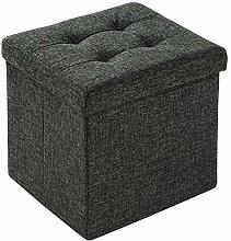 EFACONCEPT Sitzhocker Sitzwürfel Hocker Aufbewahrungsbox faltbar leinen dunkelgrau 38 x 38 x 38 cm (dunkelgrau)