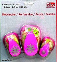 efco Design Daisy Punch 3 Teile-Set, Pink, 16mm,