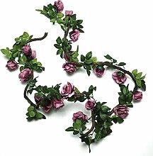 Efeu (2 X 220 Cm) Künstliche Garland Pflanzen Ivy Vine Verlässt Dekor Grünes Seidentuch Laub Zuhause Gartenzaun Hochzeit Party Fenster Draussen Treppe ( Farbe : Purple-2pcs )