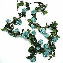 Efeu (2 X 220 Cm) Künstliche Garland Pflanzen Ivy Vine Verlässt Dekor Grünes Seidentuch Laub Zuhause Gartenzaun Hochzeit Party Fenster Draussen Treppe (Farbe : Blue-2pcs)