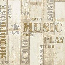 Effekt Holz Wandbild mit Schriftzug Musik
