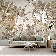 EFGHK 3D Wohnzimmer Wandbild Pflanze Giraffe