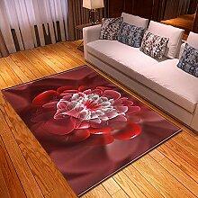EFGHK Dunkelrote Blumen 3D-Druck großen Teppich