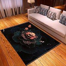 EFGHK Farbblumen 3D-Druck großen Teppich