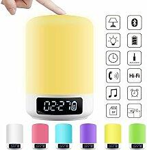 EFGUFHC Wake-up light Wecker, Led Nachtlicht Bunt Tischlampe Wecker, Bluetooth Lautsprecher Berühren Lampe Bett Licht Elektronische Wecker-A