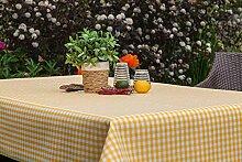 eflonbeschichtet Tischdecke eckig mit Bleiband im Saum, Teflonbeschichtet in Designs:Landhaus, gelb + weiß Maß: 130x170