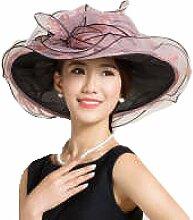 Efudfj Hautpflege Weiche Elegante Komfortable Atmungsaktive Mode-Wave-Kante Big Along Strandkappe Sonnenschutz UV-Schutz Sonnenhut,54cm-Pink