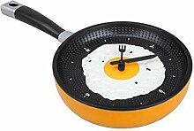 Egg Pan Wall Clock–Wanduhr für die Küche mit Form von Bratpfanne mit Eiern in Kochfeld–Lustiges Geschenk ARANCIONE