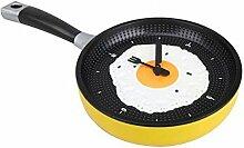 Egg Pan Wall Clock–Wanduhr für die Küche mit Form von Bratpfanne mit Eiern in Kochfeld–Lustiges Geschenk gelb