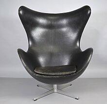 Egg Stuhl aus Leder von Arne Jacobsen für Fritz