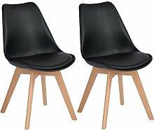 EGGREE 2er Set Esszimmerstühle mit Massivholz
