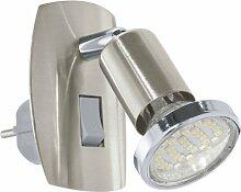 EGLO Klemmleuchte Ancona Stahl Kunststoff HV 1x GU10 maximal 25 W exklusive Leuchtmittel, Ein-Aus-Schalter in der Zuleitung, L=13 cm, nickel-matt / silber 92924